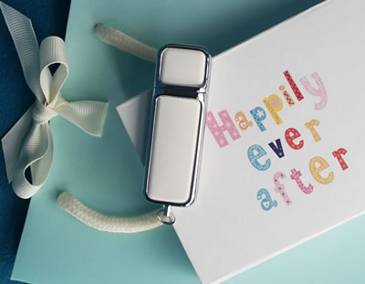 White USB Box, White Leather USB and Gift Bag