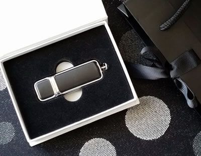 Black Leather USB in Essentials White Box