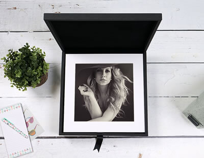 Black Folio Box with 6x6 matted prints
