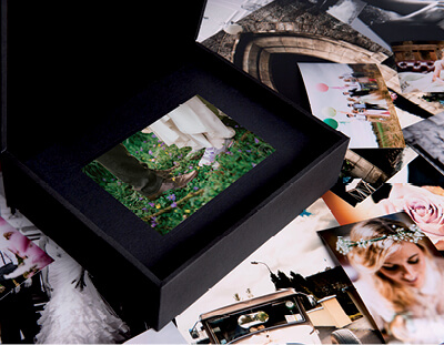 Black Folio Box with 7x5 matted prints