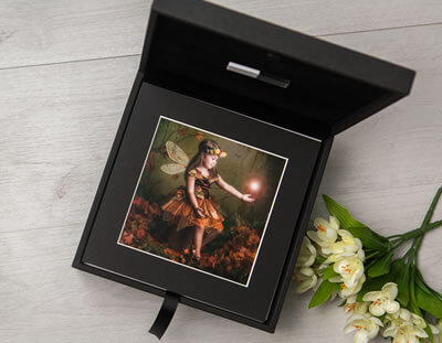 Premium Colours Black 8x8 Folio Box with USB