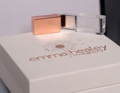 Ivory Box with Rose Gold Branding and USB