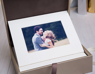 Matted Prints in a folio box for wedding and portrait photographers