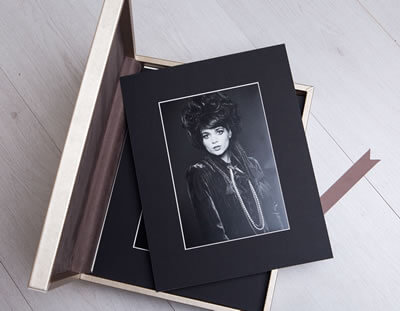 Luxury golden metallic folio box for photographers