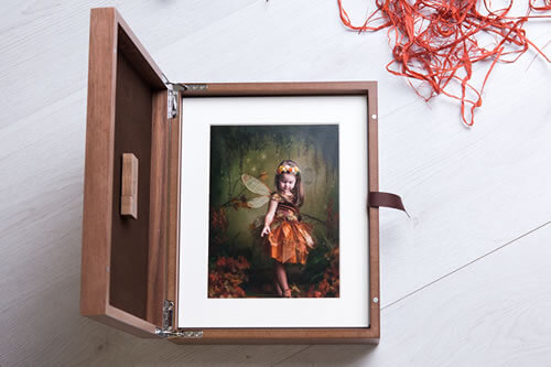 Premium Wood 11x14 Folio Box with USB