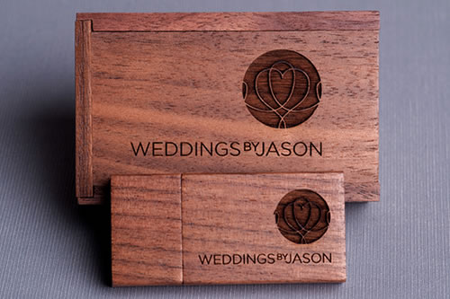 Laser Engraved USB And Mini Walnut Wooden Box