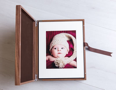 Walnut Folio Box with 10x7 matted prints