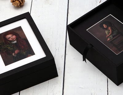 Premium Window Black 10x8 Folio Box with black, white or ivory mats