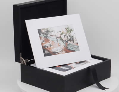 Luxury wooden folio box with soft close hinges for photographers