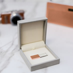 Premium Colours Grey Box with Rose Gold Crystal USB