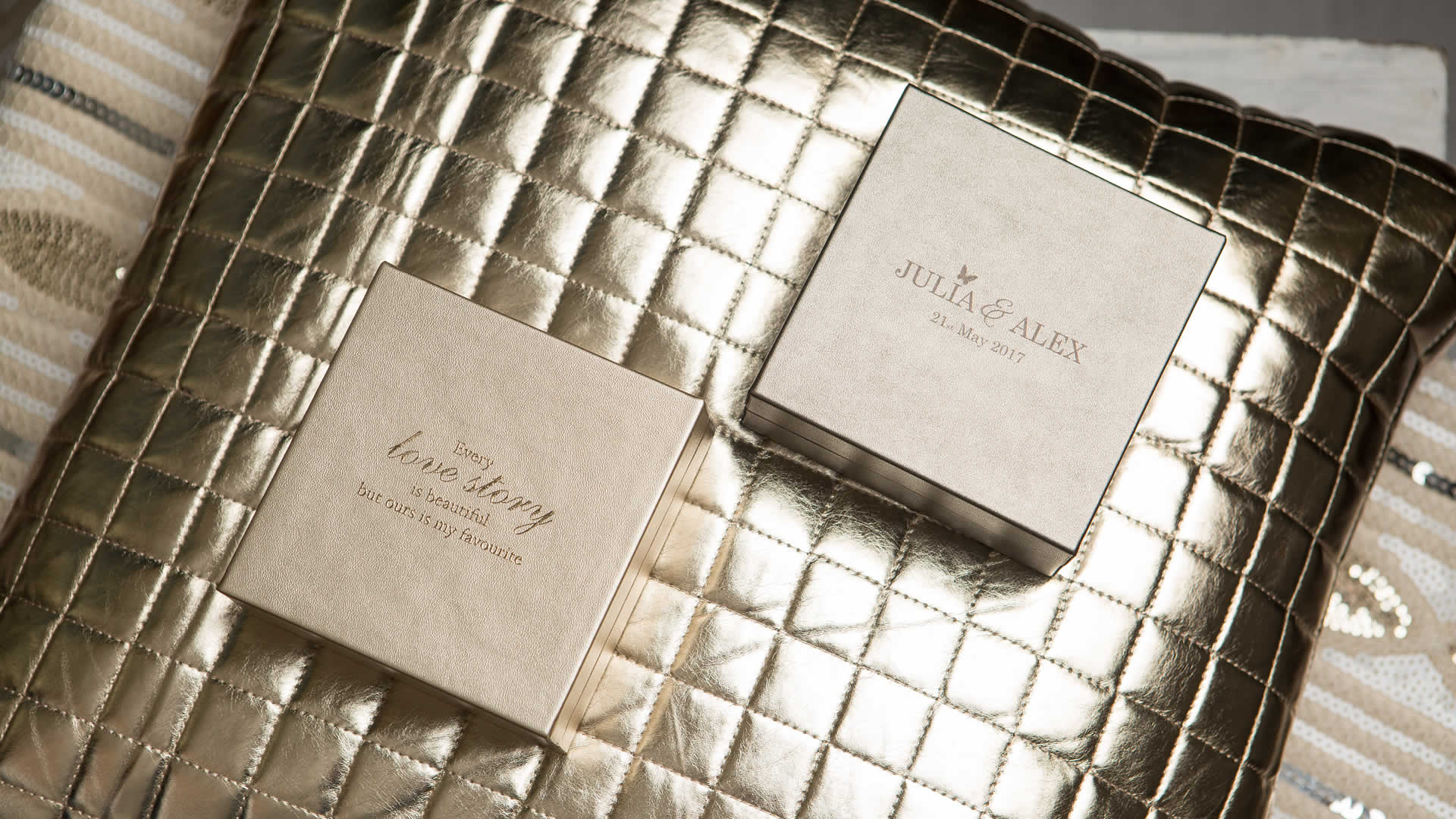 Premium Metallic USB Box in Champagne
