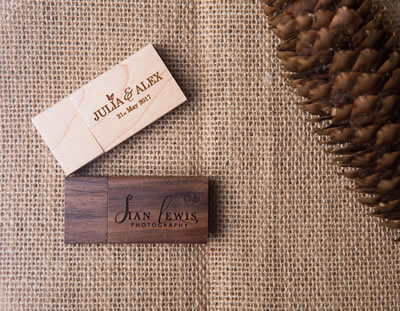 Pine and Walnut Wood USB Flash Drives