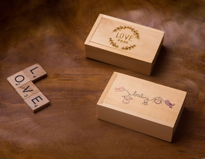 Engraved and colour printed Pine boxes