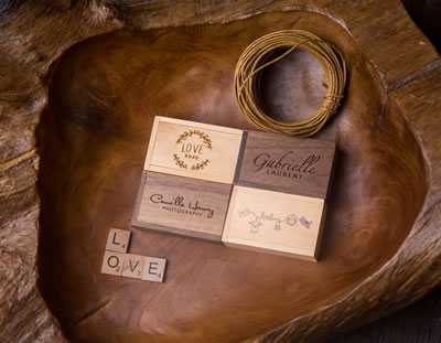 Natural Wood USB Box for Photographers