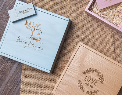 Laser Engraved Baby Wood Boxes