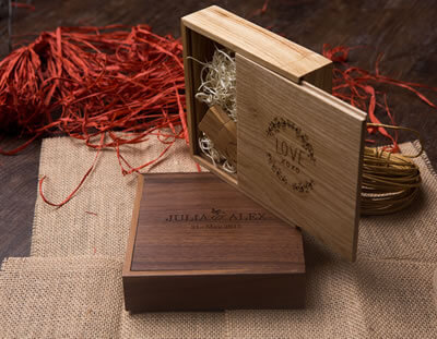 Premium Walnut Wood USB Boxes for Photographers