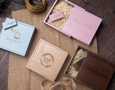 Walnut, Oak, Pink and Blue Wooden Boxes