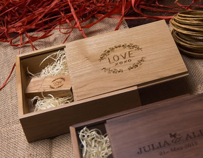 Walnut & Oak Wooden Boxes with USB Flash Drives